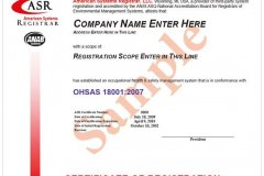 ASR 英文證書樣本 (OHSAS18001)