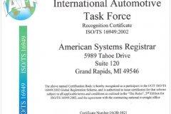 IATF ISO/TS16949 認可證書